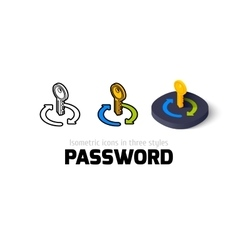 Password icon in different style vector
