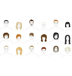 people faces set vector image