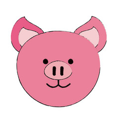 Pig or cute stuffed animal icon imag vector