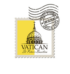 Postage mark with saint peters basilica vector