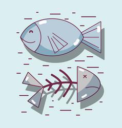 Protein fish food wih nutricional ingredients vector