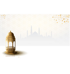 Ramadan design with realistic golden lantern vector
