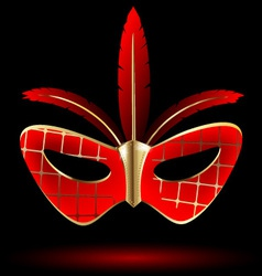red golden carnival mask vector image