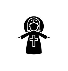 religious angel black icon sign on vector image