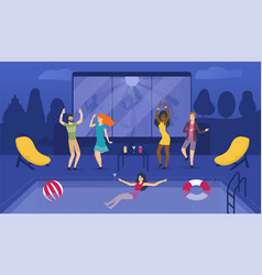 revellers dancing and swimming at a private party vector image