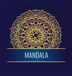 round golden mandala on white dark background vector image