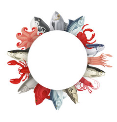 seafood round banner vector image