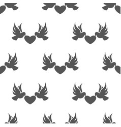 seamless dove with heart pattern love symbol from vector image