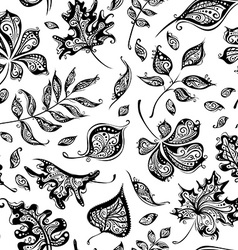 Seamless pattern of vintage leaves vector image