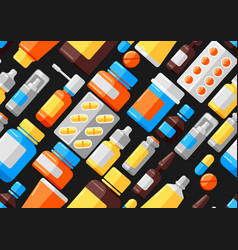 seamless pattern with medicine bottles and pills vector image