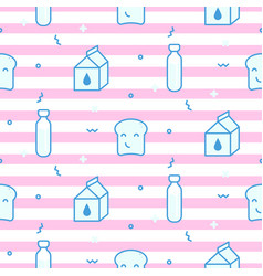seamless pattern with milk bottles and vector image