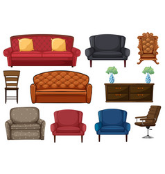 Set chair and couch vector