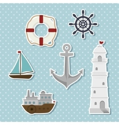 set of icons relating to the sea vector image