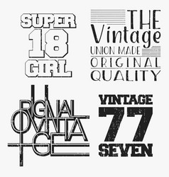 set of various vintage t shirt stamp vector image
