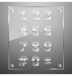 Set transparent glass numbers vector