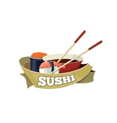 set with sushi banners vector image
