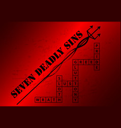 Seven deadly sins background with crossword vector
