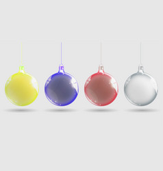 shiny christmas ball realistic christmas balls set vector image