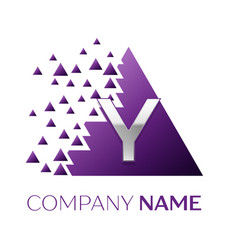 Silver letter y logo in the purple pixel triangle vector