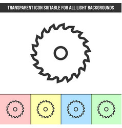 Simple outline transparent saw blade icon on vector