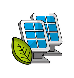 Solar energy eco icon vector