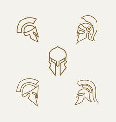 spartan sparta minimalist line art logo vector image
