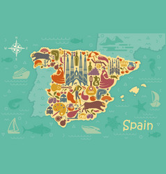 Stylized map of spain vector