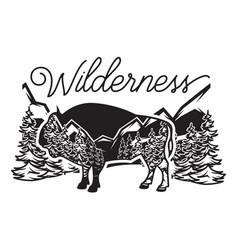stylized monochrome with bison and vector image
