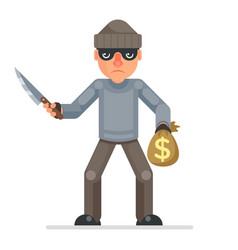 Threaten knife stole money evil greedily thief vector