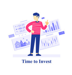 Time to invest concept successful investment vector