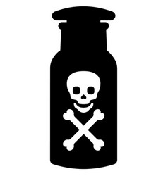Toxic poison bottle with death sign skull and vector
