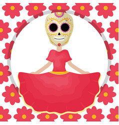 traditional katrina mexican character with floral vector image