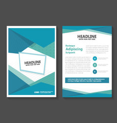 Triangle Blue Green Leaflet Brochure Flyer set vector