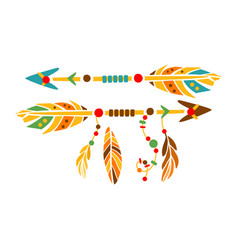 two decorative arrows with feathers native indian vector image