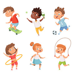 various kids in active sports characters vector image