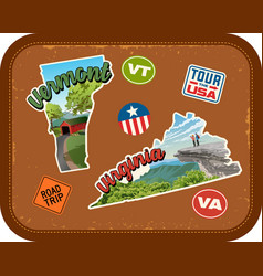 Vermont virginia travel stickers vector