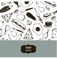 Vintage food hand drawn vector