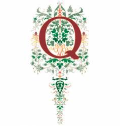 vintage letter q vector image