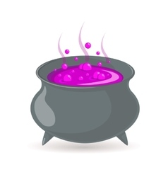 Witch cauldron with potion vector image
