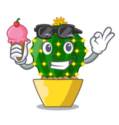 With ice cream character mammillaria cactus at vector