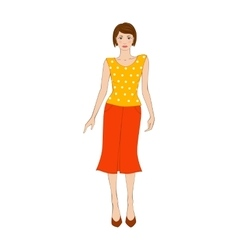 Woman in yellow blouse and orange skirt flat icon vector image