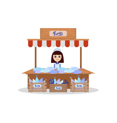 Wooden stall with freshness seafood young woman vector