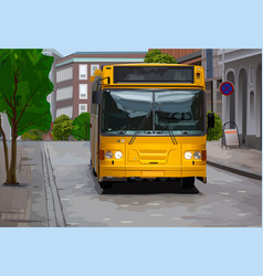 yellow bus vector image