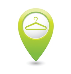 clothers hanger icon pointer green vector image
