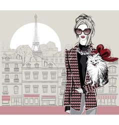 Fashion woman model with a little dog in Paris vector image