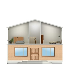 House cut with interiors and part facade vector image vector image
