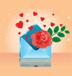 red rose in love romantic envelope vector image vector image