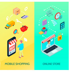 shopping ecommerce banner set vector image vector image