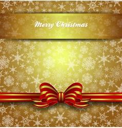Christmas Card Snowflake Gold Bow vector image vector image