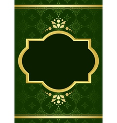 dark green elegant card with golden decor vector image vector image